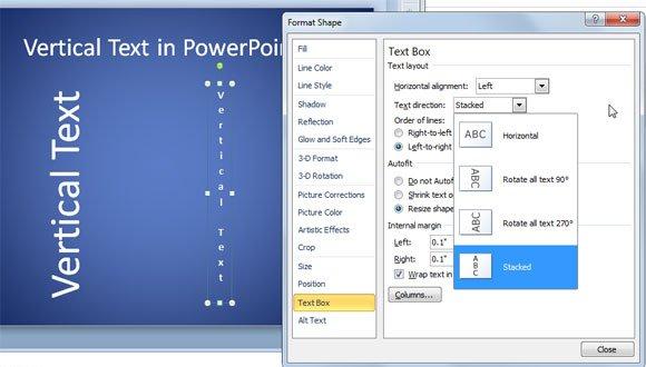 text vertical powerpoint