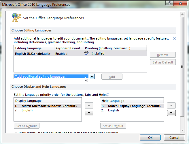 how to change microsoft office language