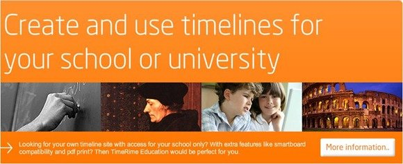 TimeRime example showing a timeline created with this tool for school and University