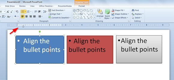 Align the Bullet Points in PowerPoint 2010
