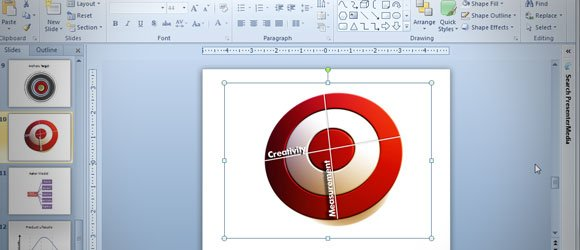 Drawing an Bullseye in PowerPoint 2010 using Shapes