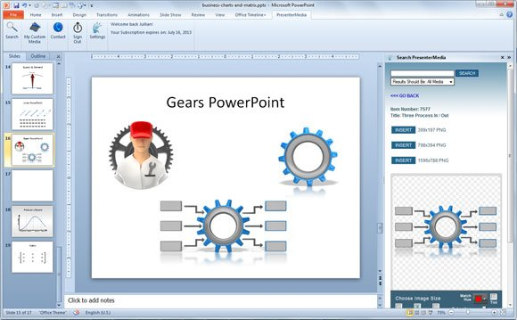 how to create gears in powerpoint using smartart