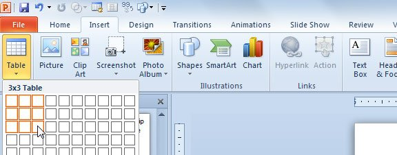 how to add simple matrix in powerpoint 2010