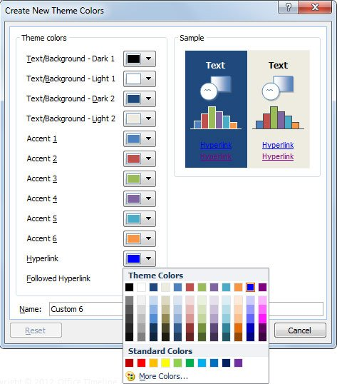 How to change link color in powerpoint template assign a new name to the new color theme and then save the changes the sample will show you a preview with the colors on dark and light backgrounds toneelgroepblik Choice Image