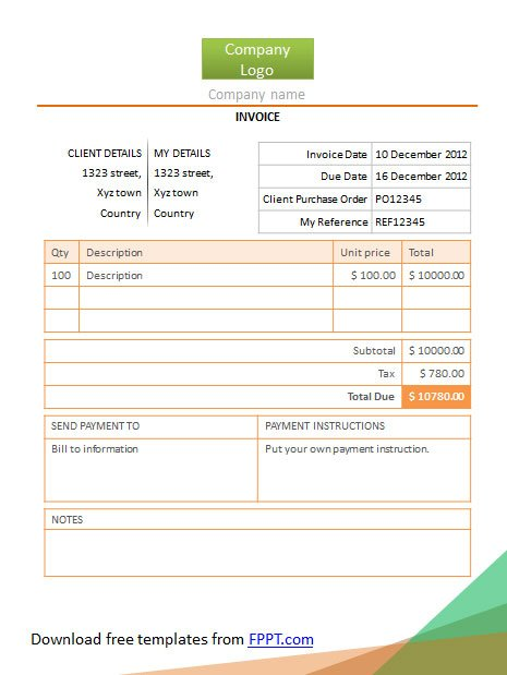 simple invoice powerpoint template free download