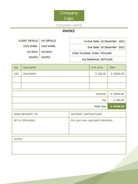 Green Invoice PowerPoint Template Free Download  Template For Invoice Free Download