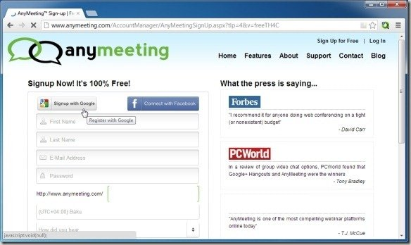 AnyMeeting™ Sign-up Free Meeting