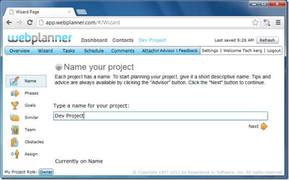 Web Planner Dashboard