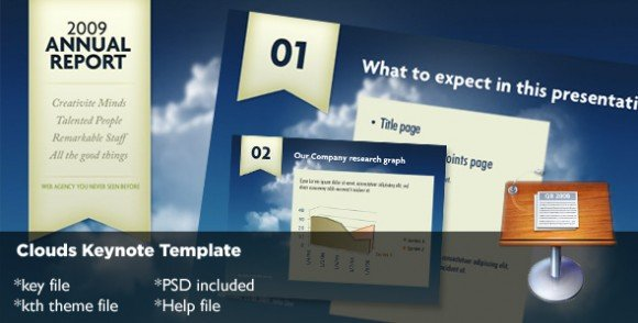 10 cheap and awesome keynote templates for presentations clouds keynote template is a nice academic and annual report template design that you can use either for business presentations but also for academic work toneelgroepblik Gallery