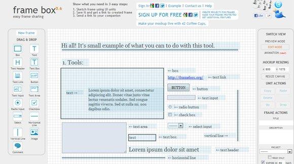 FrameBox: Simple Wireframe Editor Online