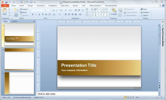 Eye popping powerpoint templates for your organization gold powerpoint template toneelgroepblik Image collections