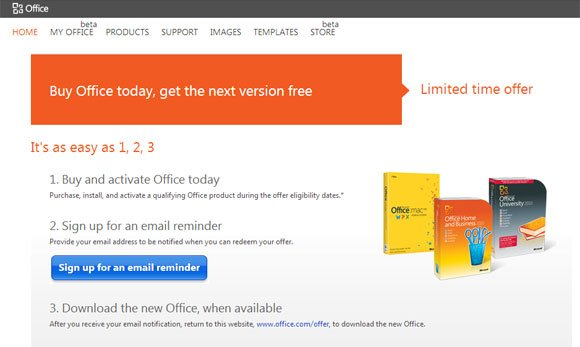 purchase office 2010 and get an upgrade to office 2013 for