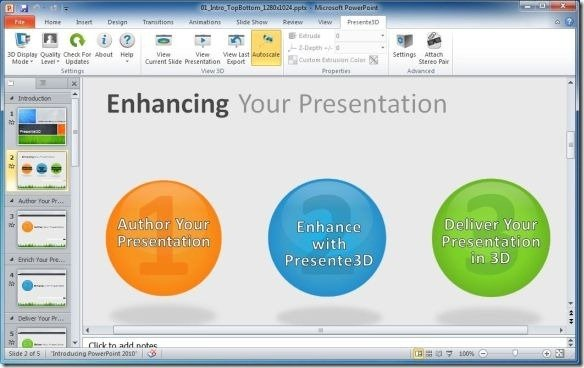 3D Presentation Options