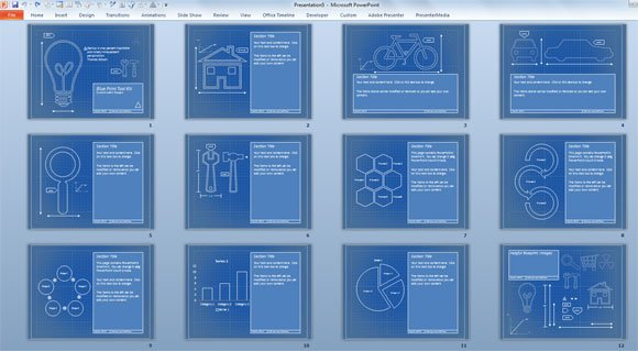 Blueprint templates for microsoft powerpoint presentations blueprint template malvernweather Gallery