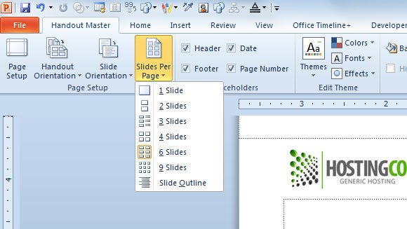 how to make a headder for powerpoint 2016