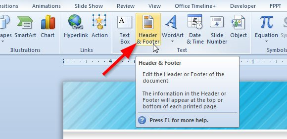 Adding a footer to your powerpoint 2010 presentation toneelgroepblik Choice Image