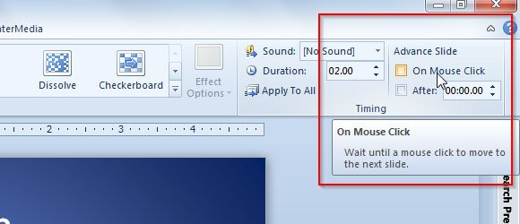 Useful tip disabling powerpoint left mouse click to advance slide in powerpoint 2010 and look for the advance slide checkbox on mouse click uncheck this option for the selected slides make sure you have selected all toneelgroepblik Choice Image