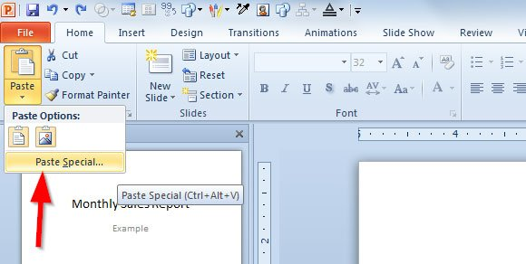 using paste special from excel