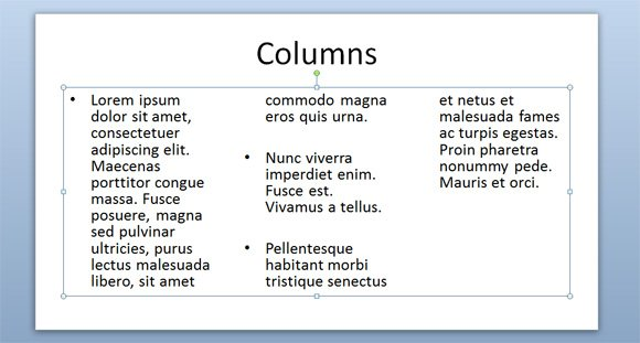 Text Columns in PowerPoint 2010