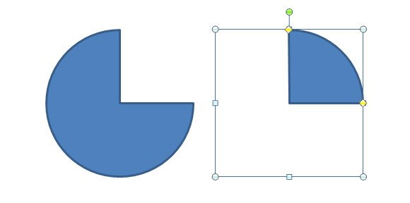 How to Insert a Quarter Circle Shapes in PowerPoint 2010