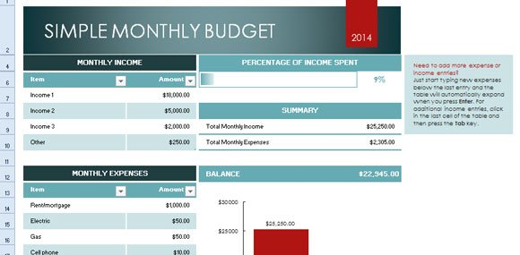 simple monthly budget template for excel 2013. Black Bedroom Furniture Sets. Home Design Ideas