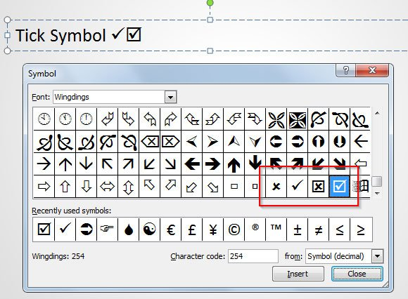 How To Insert A Tick Symbol In Powerpoint