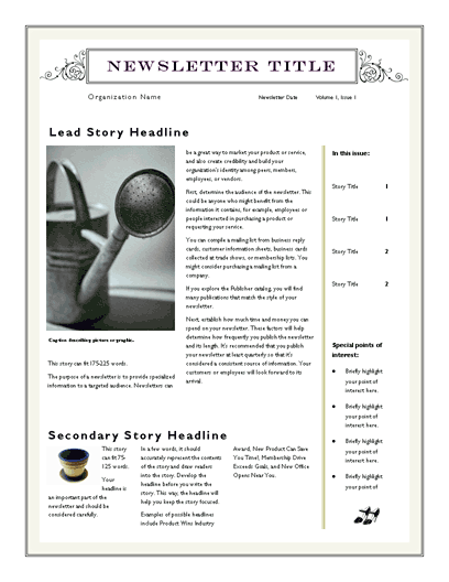word template for newsletter