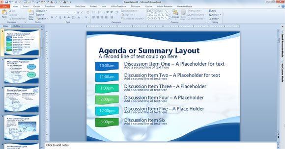 agenda or summary layout in powerpoint presentation