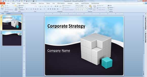 Free Business Powerpoint Template With Animated Clouds Video And 3d Cube