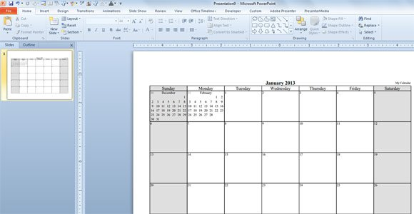 how to create a calendar template in powerpoint
