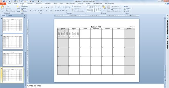 calendar PPT template for 2013