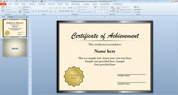 Free diploma certificate template for microsoft powerpoint for Award certificate template powerpoint