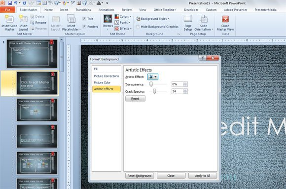 how to change opacity of backgroun in power point