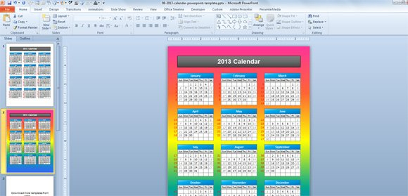 Simple 2013 calendar powerpoint template calendar template powerpoint toneelgroepblik Choice Image