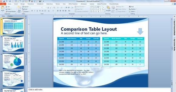 comparison table powerpoint