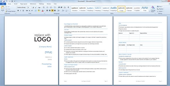 due diligence template for word 2013
