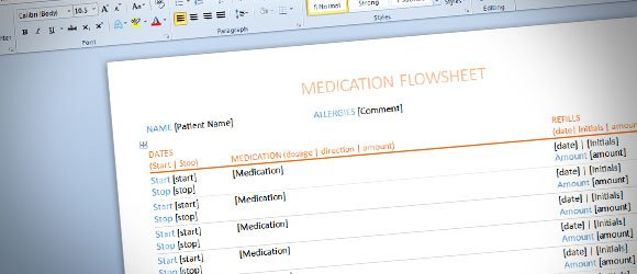 Medication Flowsheet Template for Word 2013
