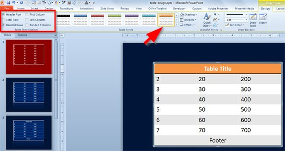 footer powerpoint styles