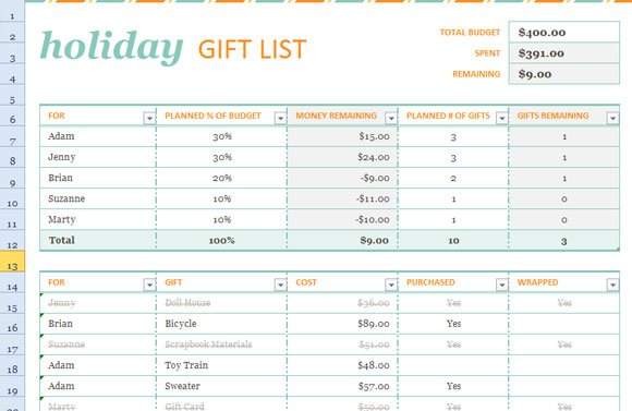 holiday gift list template for excel 2013