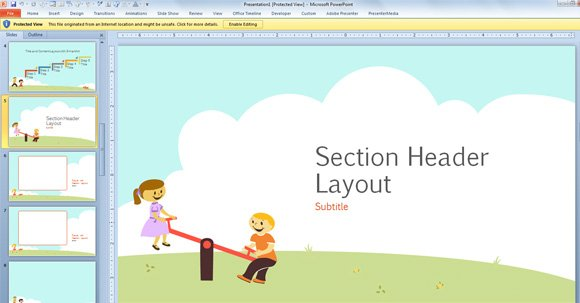 free children powerpoint template with cartoons for