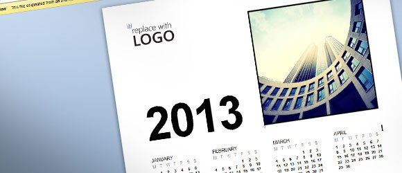 free business calendar 2013 template for ms word 2013, Modern powerpoint