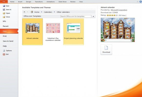 make calendar powerpoint