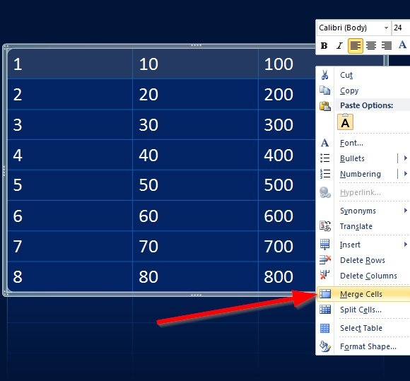 Add a Header to a Table in PowerPoint