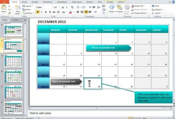 To Make A Calendar In Powerpoint  Using Shapes And Tables