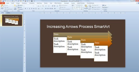 Simple process timeline template for powerpoint 2013 increasing arrows process smartart slide brown tones toneelgroepblik