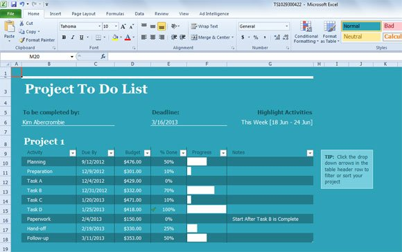 High Quality Project Task List Template For Excel 2013 Within Project Task List Template Word