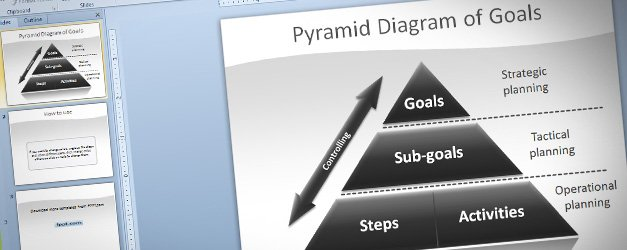 Pyramid Of Goals Diagram For Powerpoint