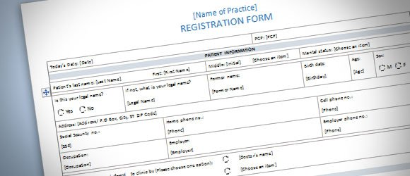 Patient Registration Form Template For Word 2013  Paper Registration Form Template