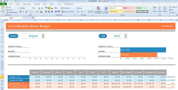 Semi Monthly Budget Template For Excel 2013