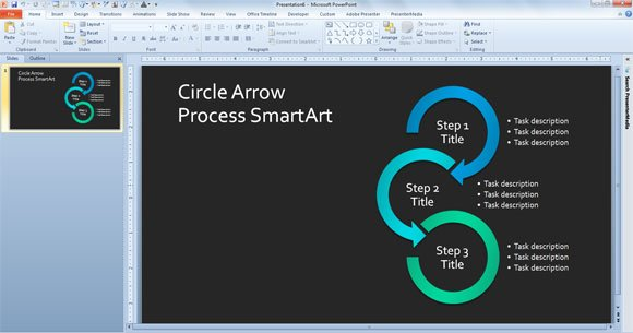 simple process diagram template in powerpoint using smartart, Sample Presentation Slides Template, Presentation templates